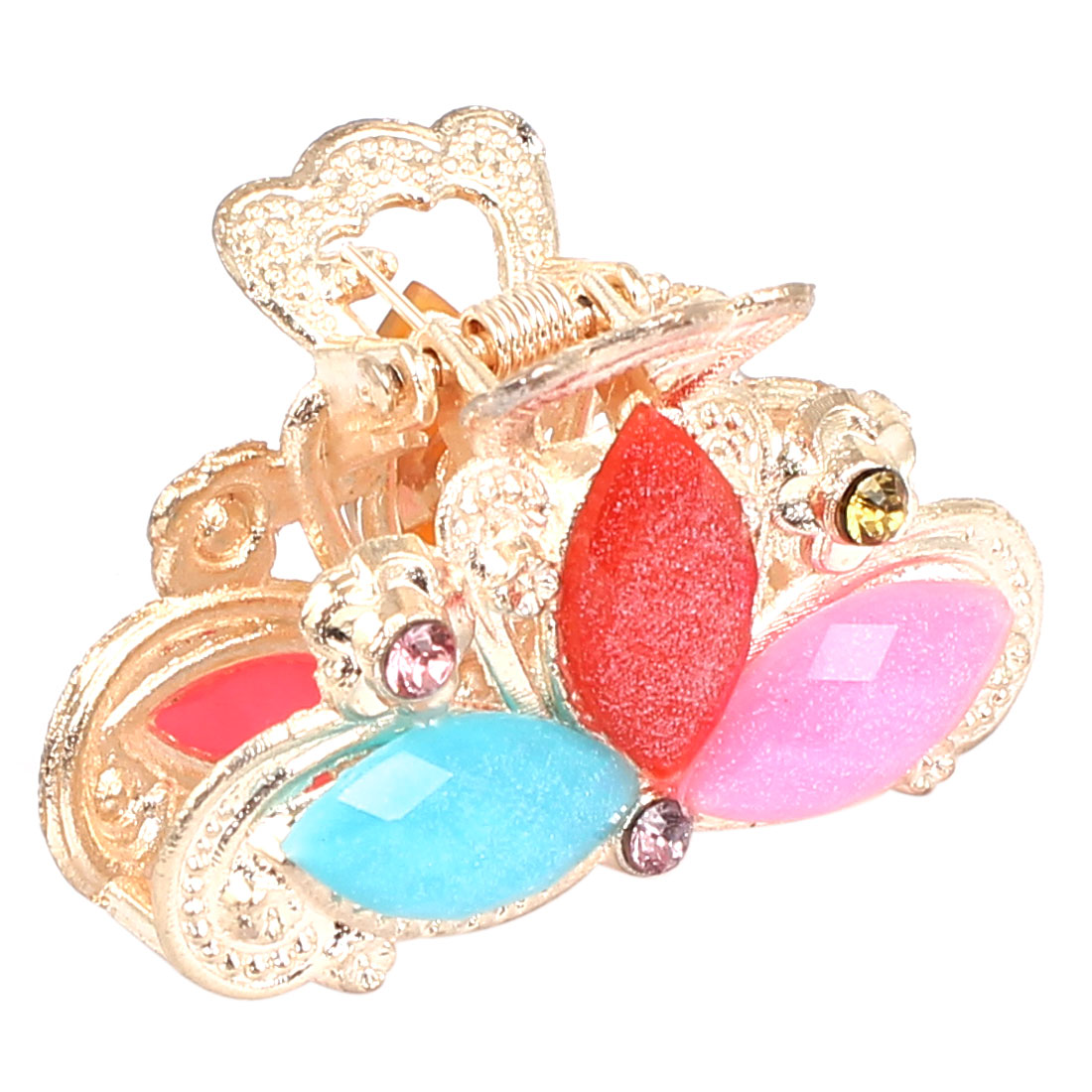 Women Faux Rhinestone Decor Flower Pattern Hair Claw Clip Jaw Hairpin Colorful