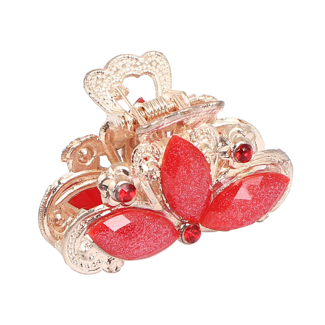 Women Lady Faux Rhinestone Decor Flower Pattern Hair Claw Clip Jaw Hairpin Red