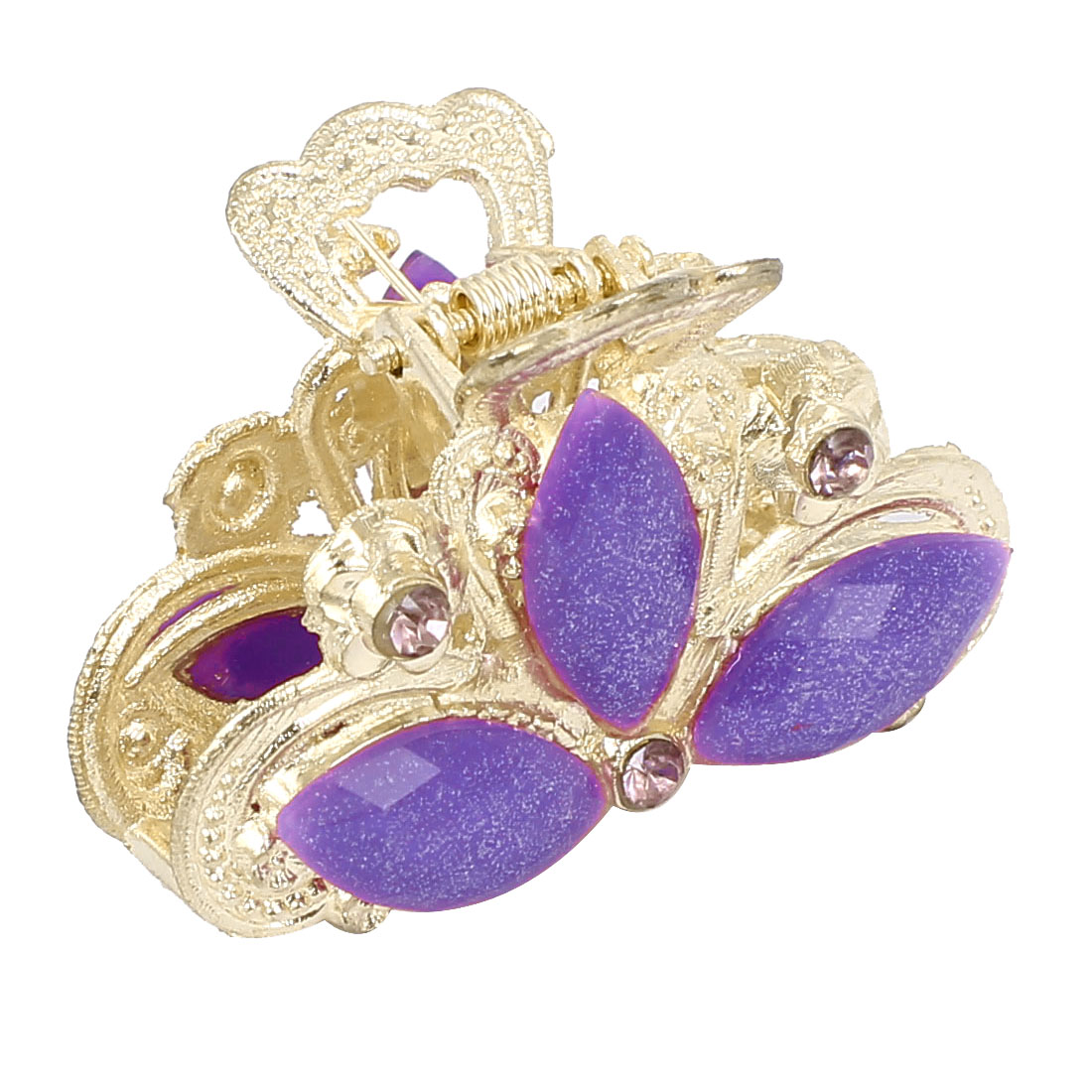 Women Faux Rhinestone Decor Flower Pattern Hair Claw Clip Jaw Hairpin Purple
