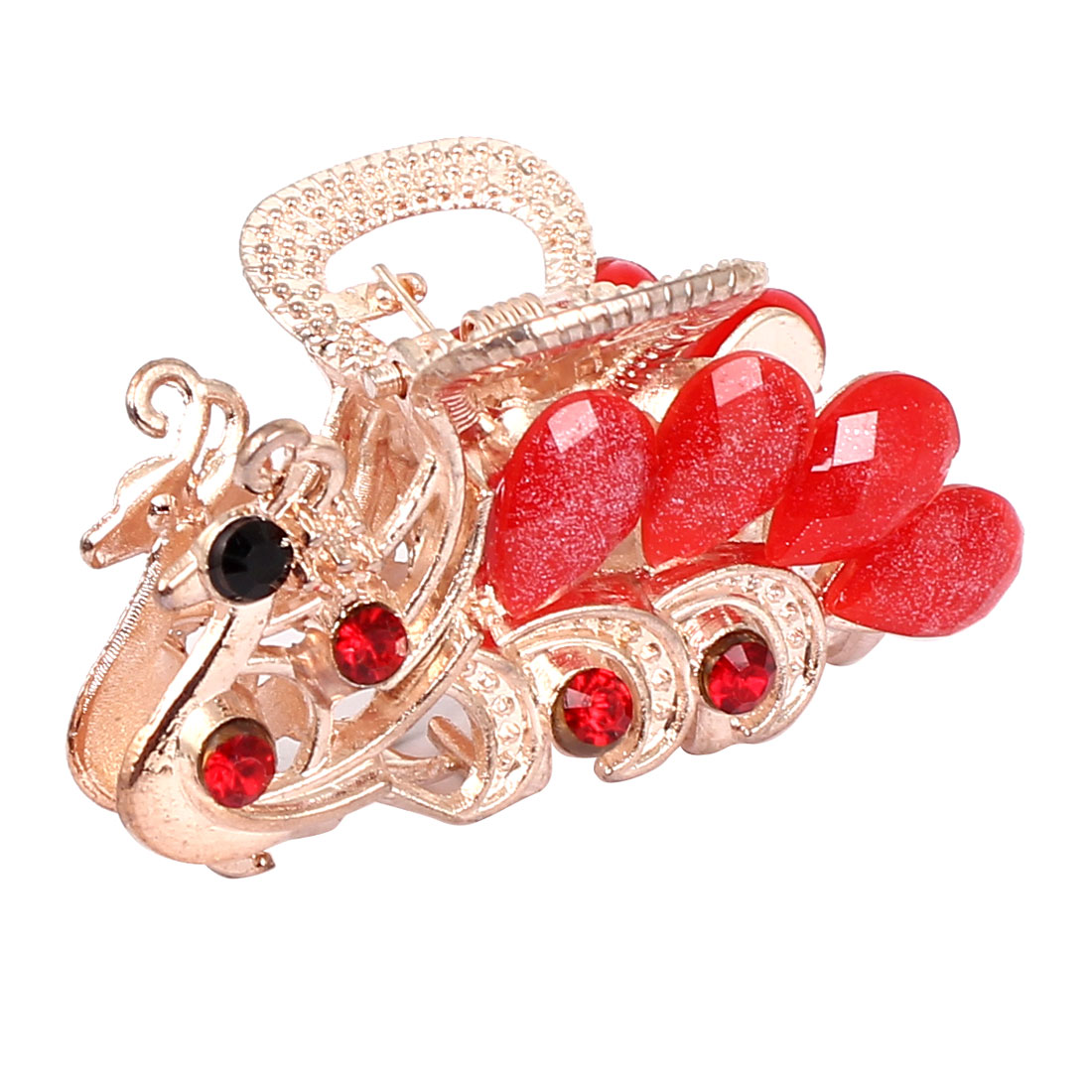 Women Lady Faux Rhinestone Decor Peacock Design Hair Claw Clip Jaw Hairpin Red