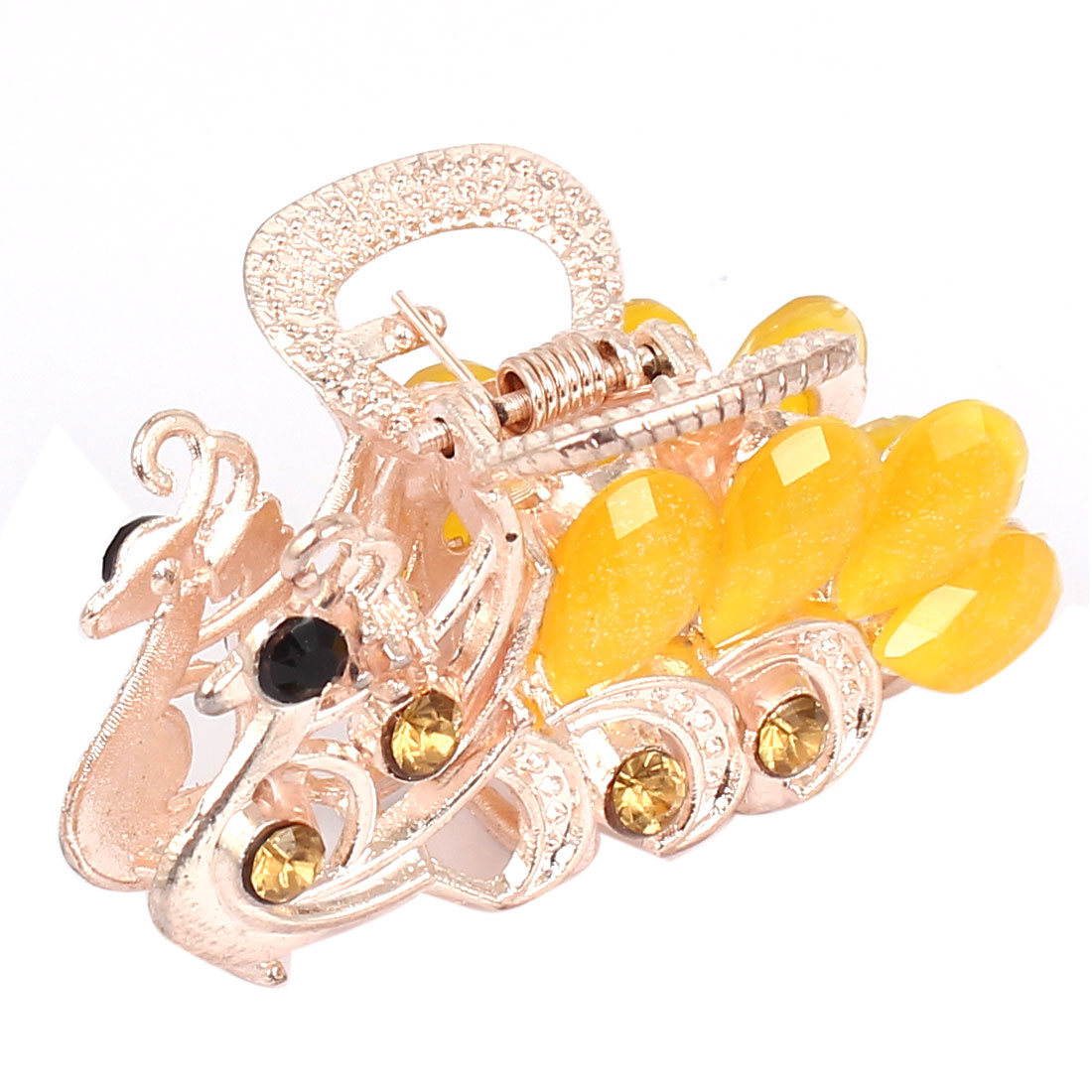 Women Faux Rhinestone Decor Peacock Design Hair Claw Clip Jaw Hairpin Yellow
