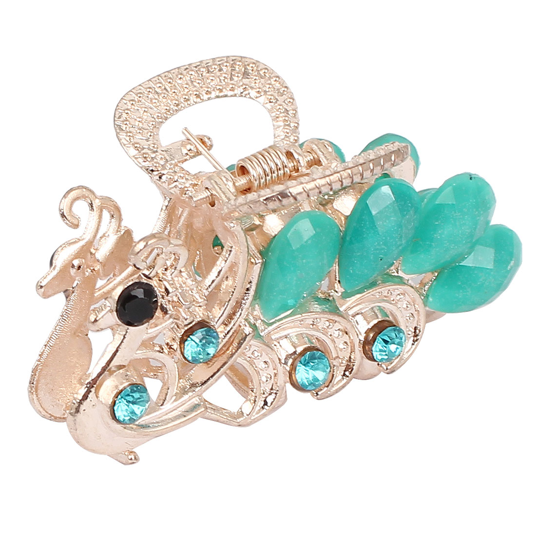 Women Lady Faux Rhinestone Decor Peacock Design Hair Claw Clip Jaw Hairpin Green