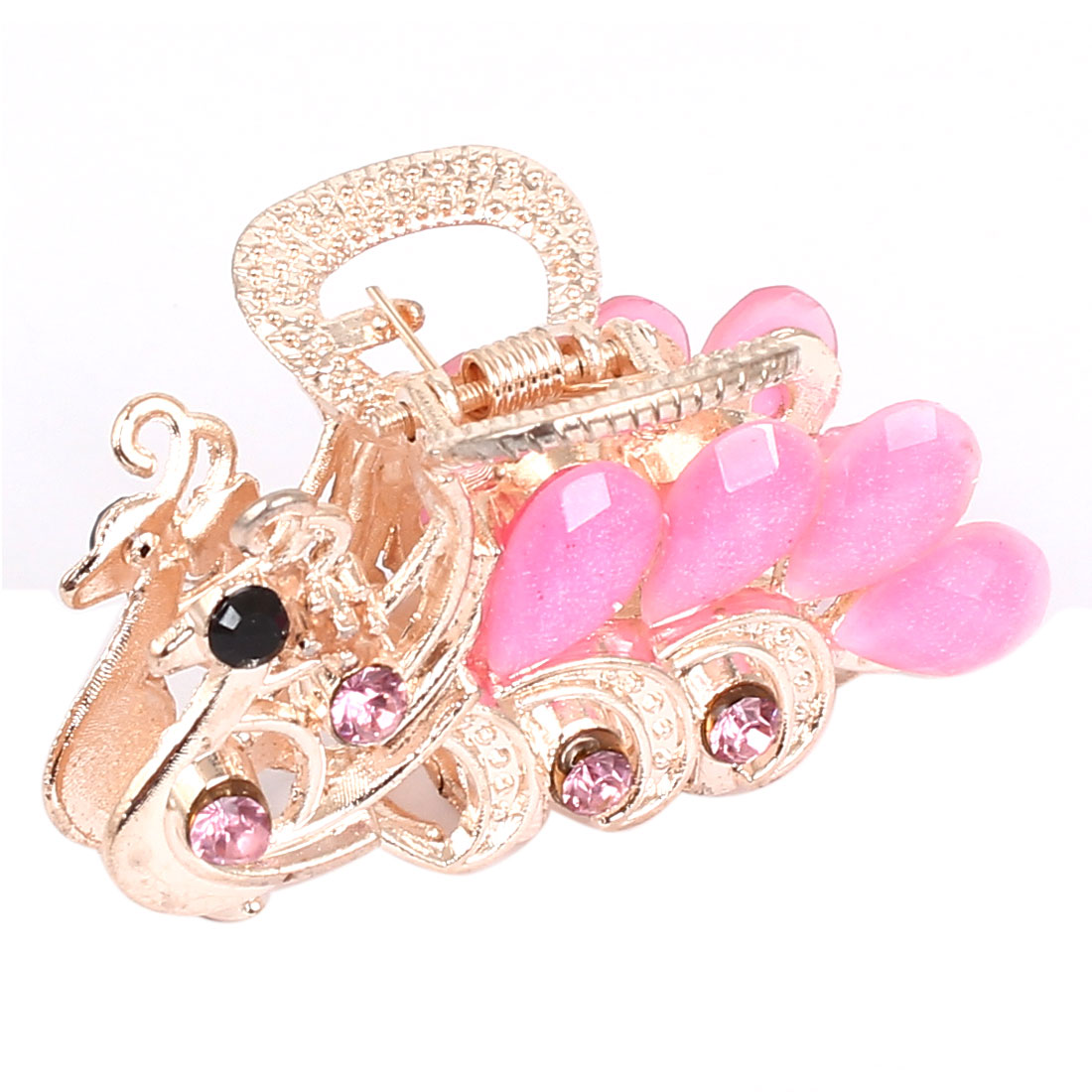 Women Lady Faux Rhinestone Decor Peacock Design Hair Claw Clip Jaw Hairpin Pink
