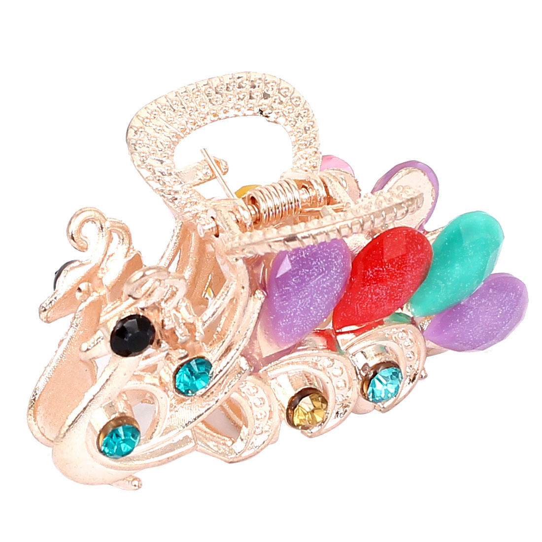 Women Faux Rhinestone Decor Peacock Design Hair Claw Clip Jaw Hairpin Colorful