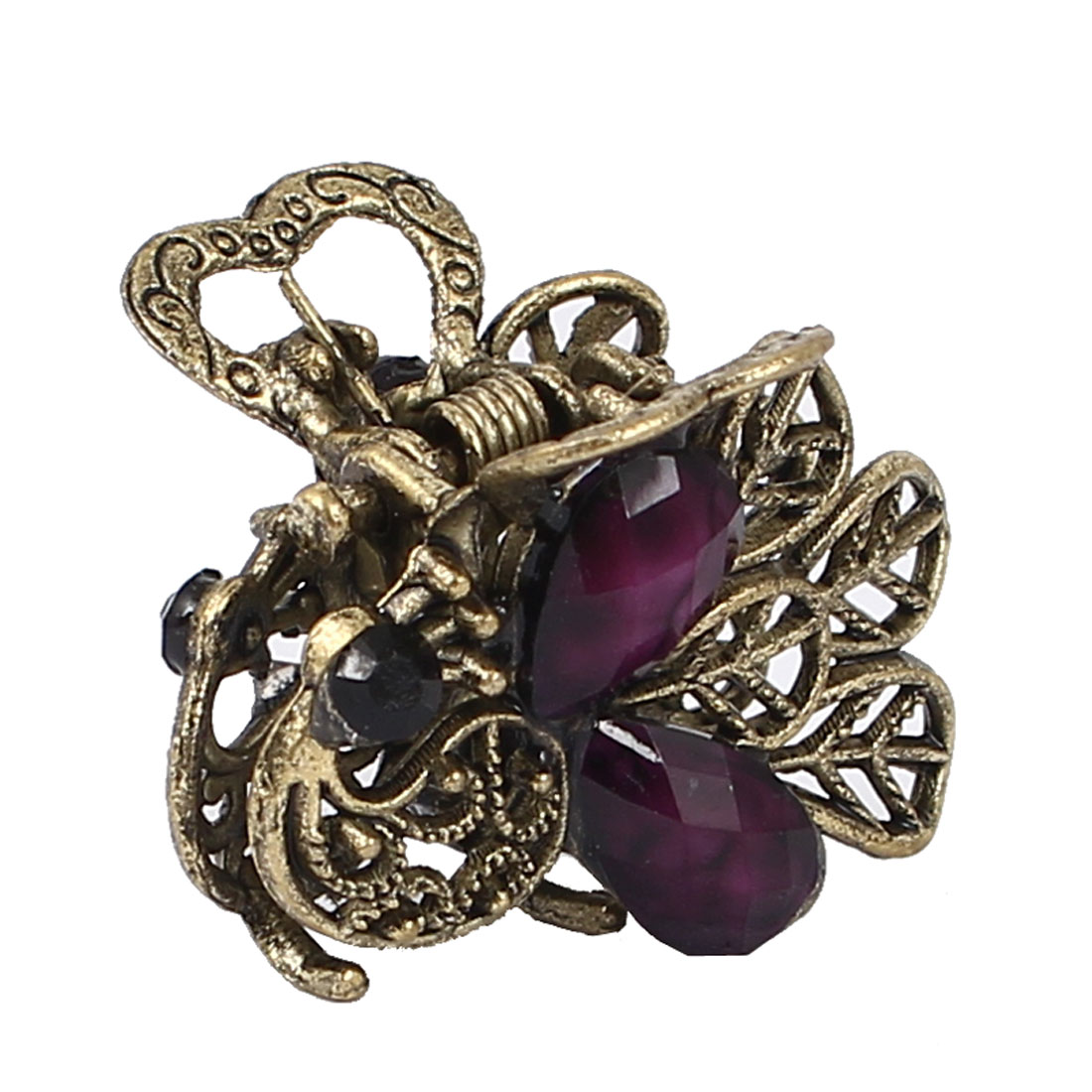 Women Faux Rhinestone Accent Peacock Design Hair Claw Clip Jaw Hairpin Purple