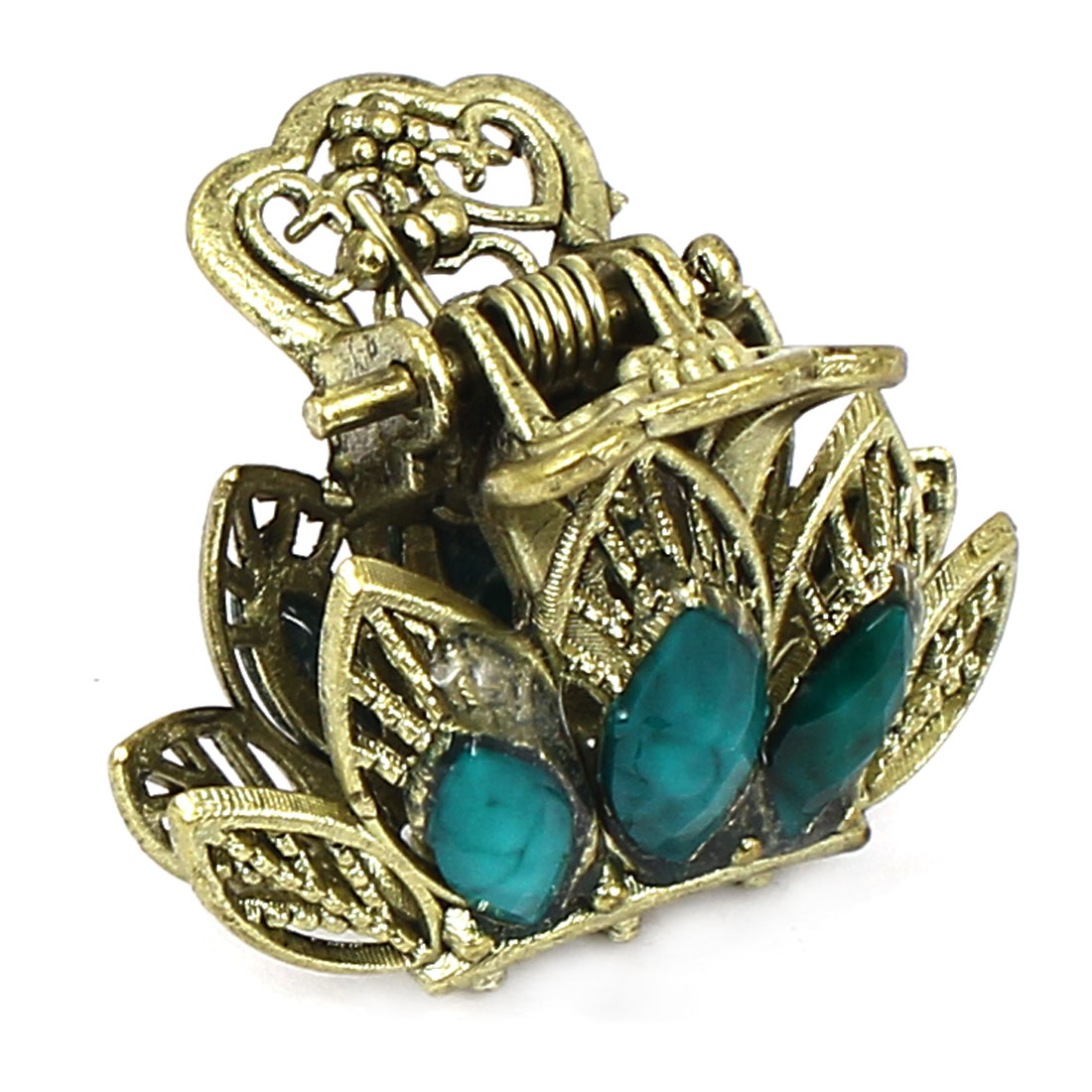 Women Lady Faux Rhinestone Accent Leaf Pattern Hair Claw Clip Jaw Hairpin Green