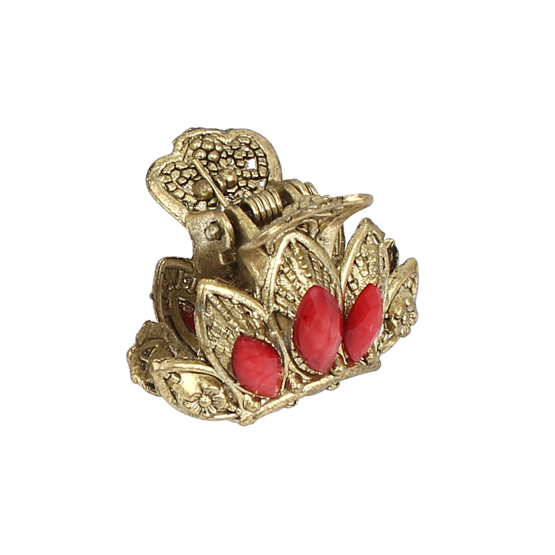 Women Lady Faux Rhinestone Accent Flower Pattern Hair Claw Clip Jaw Hairpin Red