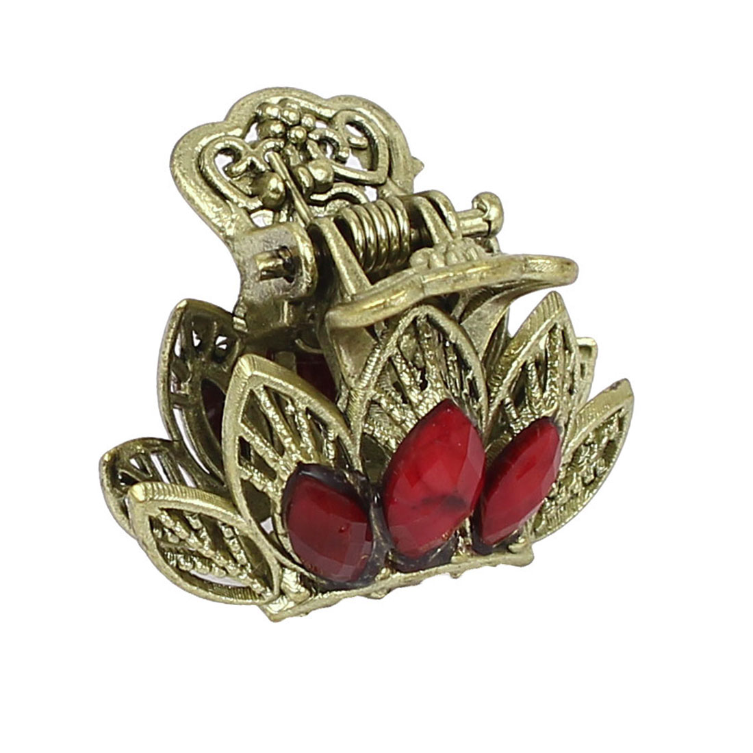 Women Lady Faux Rhinestone Accent Leaf Pattern Hair Claw Clip Jaw Hairpin Red
