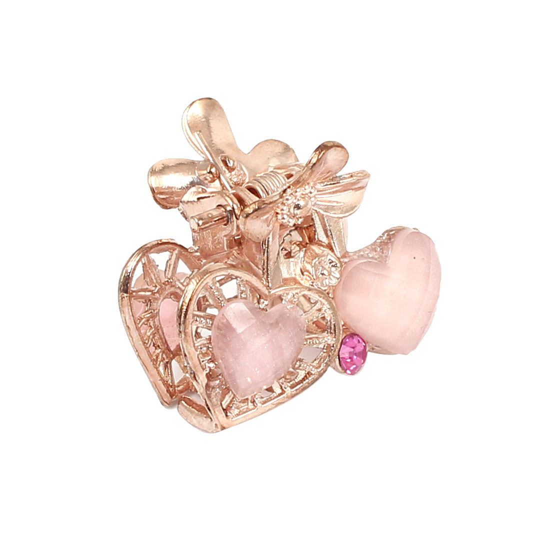 Women Faux Rhinestone Decor Heart Pattern Hair Claw Clip Jaw Hairpin Light Pink