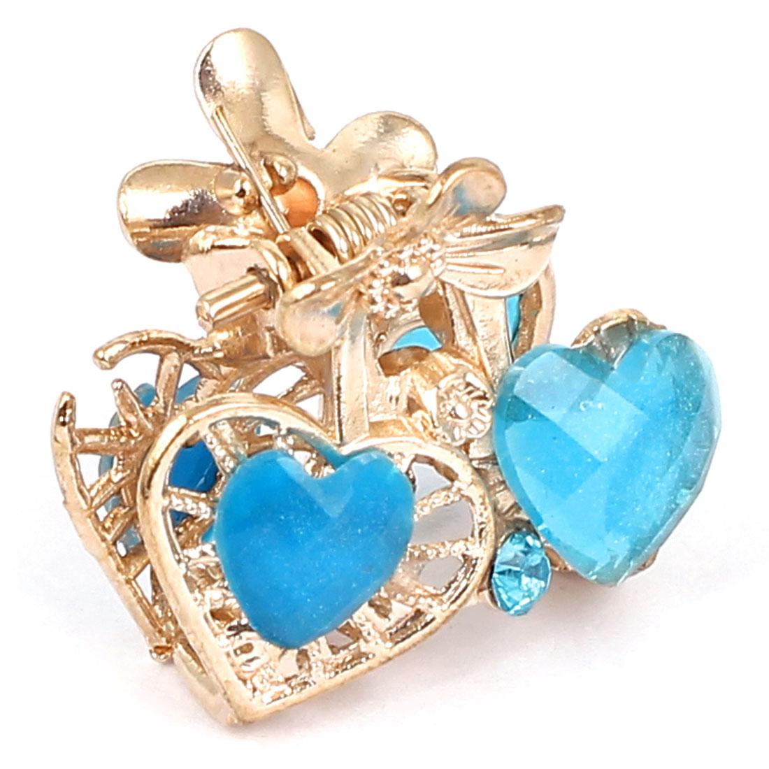 Women Lady Faux Rhinestone Decor Heart Pattern Hair Claw Clip Jaw Hairpin Blue