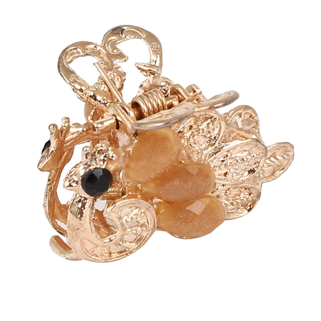Women Faux Rhinestone Accent Peacock Pattern Hair Claw Clip Jaw Hairpin Light Orange