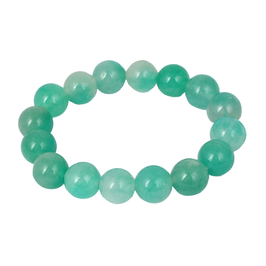 Men Women Faux Jade Elastic 12mm Round Beaded Ball Chain Bangle Bracelet Green