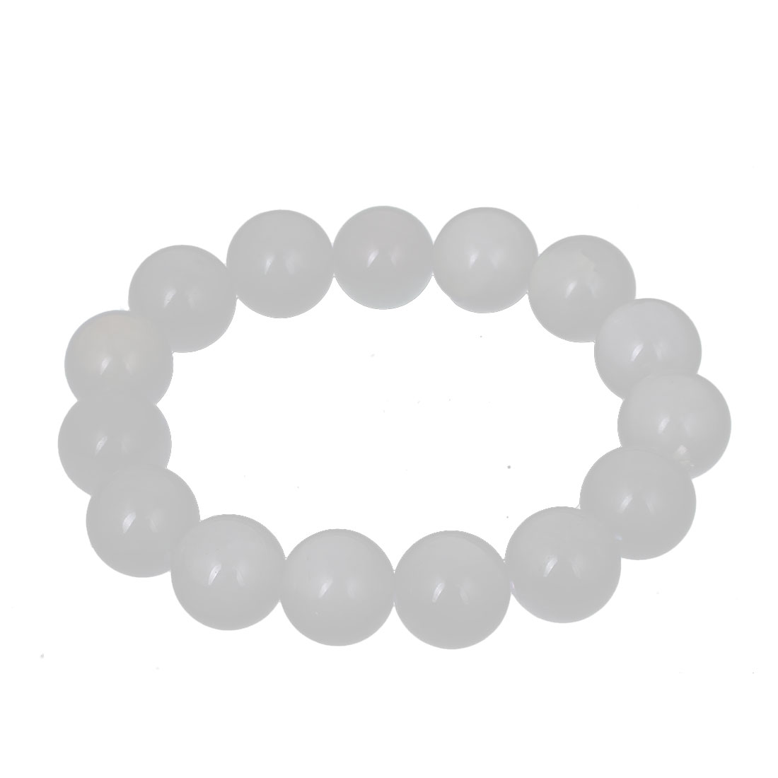 Men Women Faux Jade Elastic 13mm Round Beaded Ball Chain Bangle Bracelet White