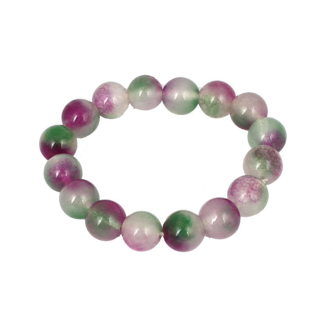 Men Women Faux Jade Elastic 12mm Round Beaded Chain Bangle Bracelet Purple Green