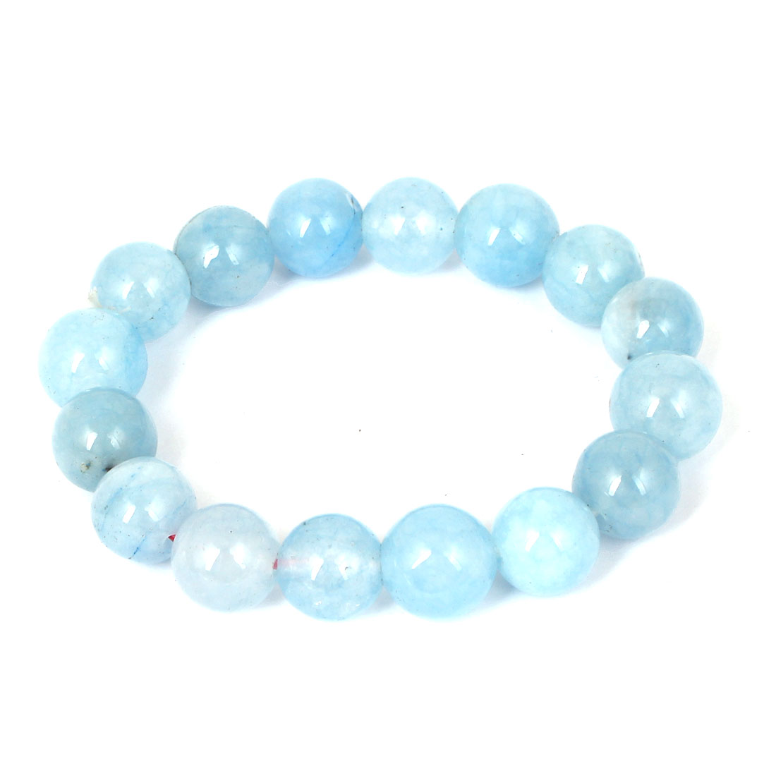 Men Women Faux Jade Elastic 12mm Round Beaded Chain Bangle Bracelet Light Blue