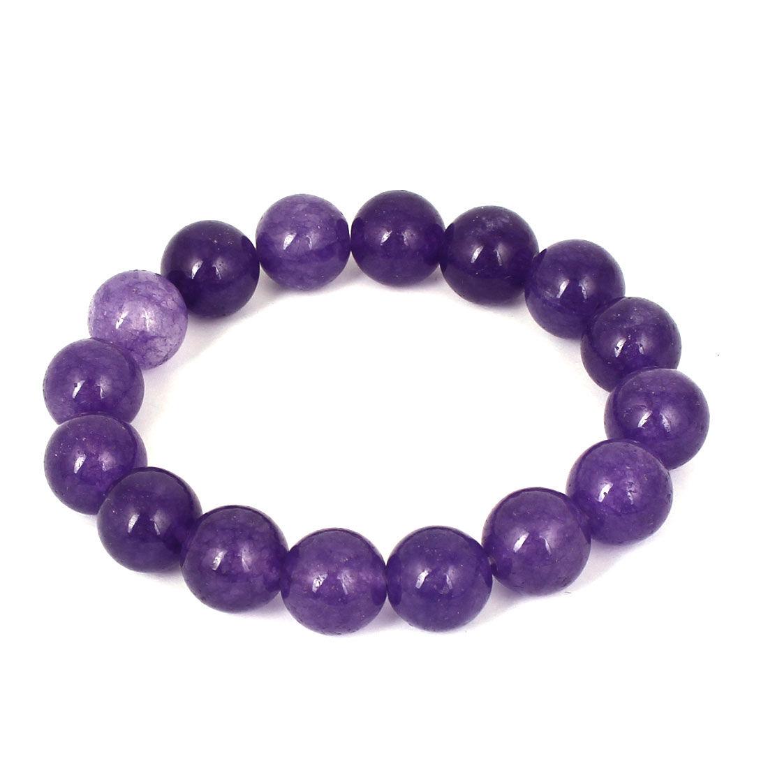 Men Women Faux Jade Elastic 12mm Round Beaded Chain Bangle Bracelet Dark Purple
