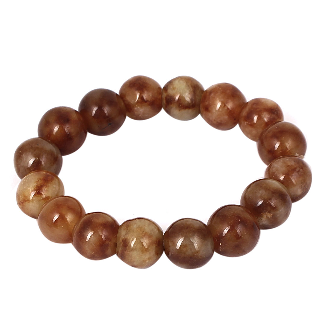 Men Women Faux Jade Elastic 12mm Round Beaded Ball Chain Bangle Bracelet Brown
