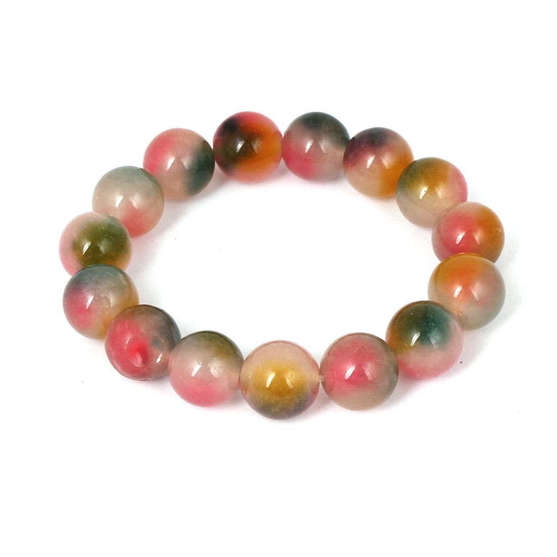 Men Women Faux Jade Elastic 13mm Round Beaded Chain Bangle Bracelet Pink Green