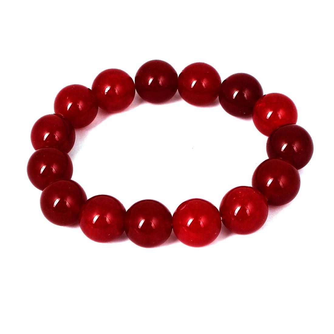 Men Women Faux Jade Elastic 13mm Round Beaded Chain Bangle Bracelet Burgundy
