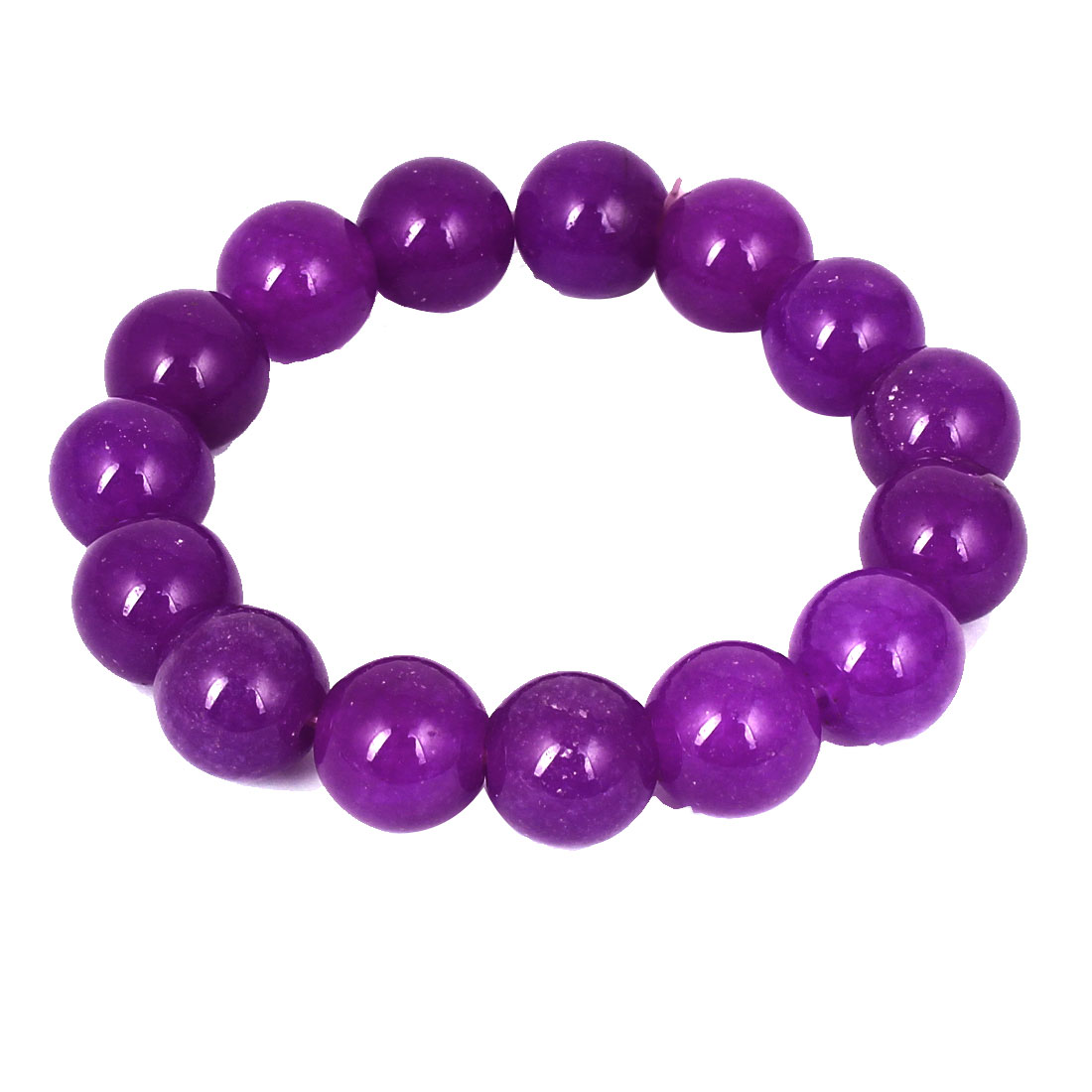 Men Women Faux Jade Elastic 13mm Round Beaded Chain Bangle Bracelet Purple