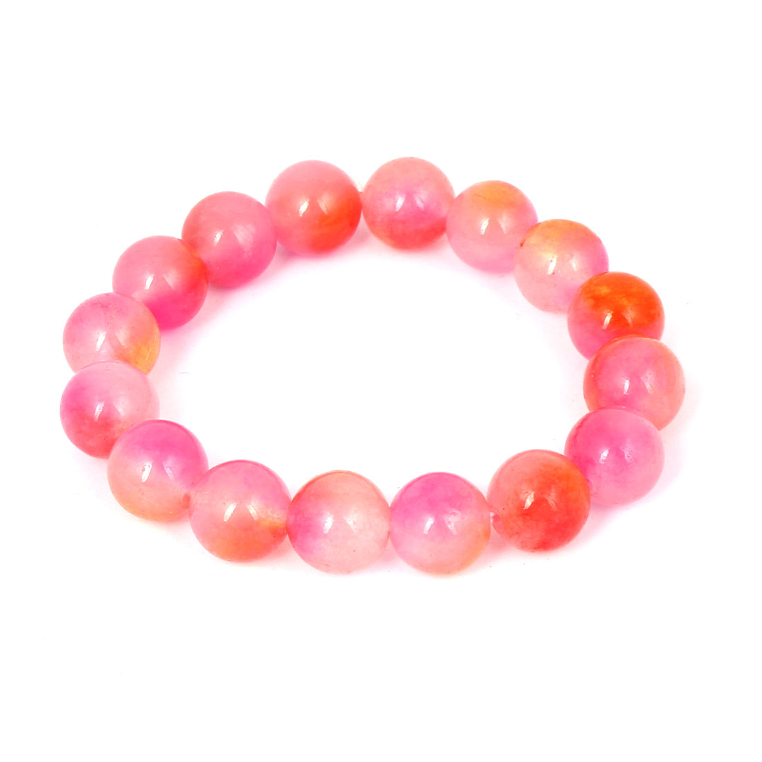 Men Women Faux Jade Elastic 12mm Round Beaded Ball Chain Bangle Bracelet Pink