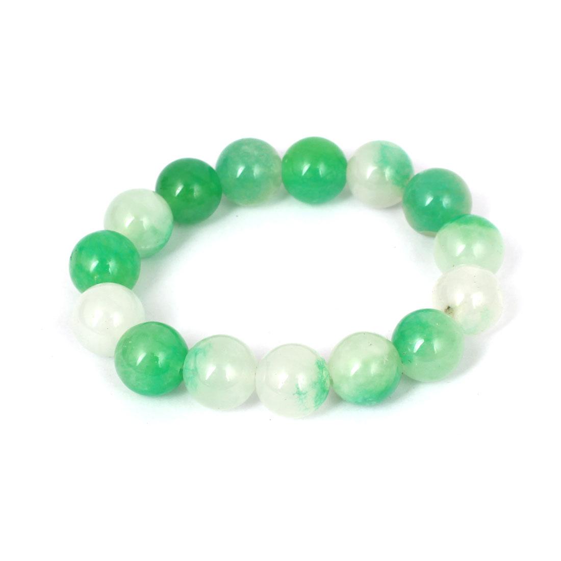 Men Women Faux Jade Elastic 13mm Round Bead Chain Bangle Bracelet Green White