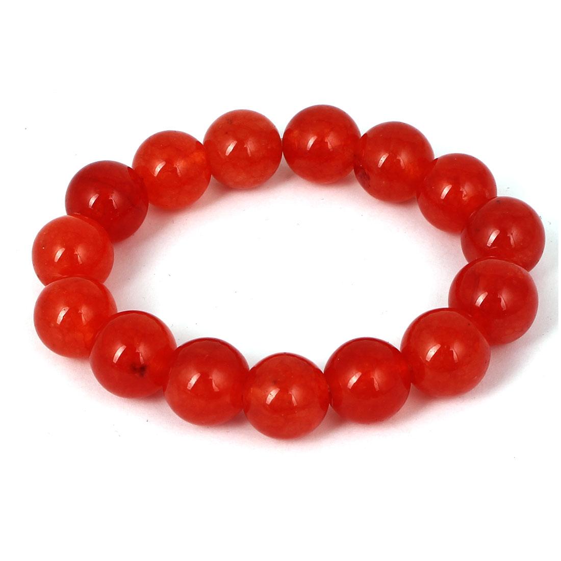 Men Women Faux Jade Elastic 13mm Round Beaded Ball Chain Bangle Bracelet Red