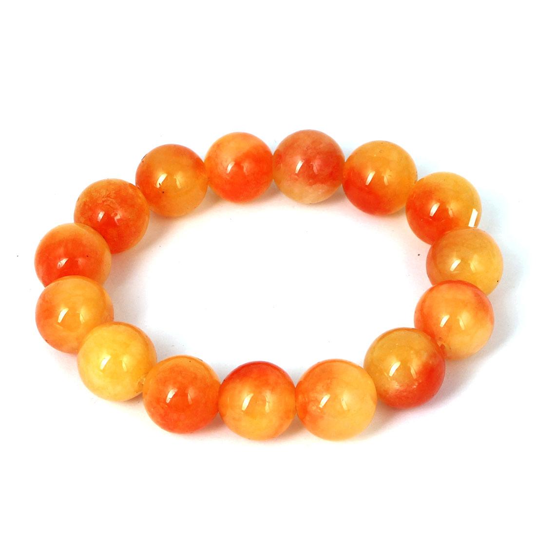 Men Women Faux Jade Elastic 13mm Round Beaded Chain Bangle Bracelet Orange