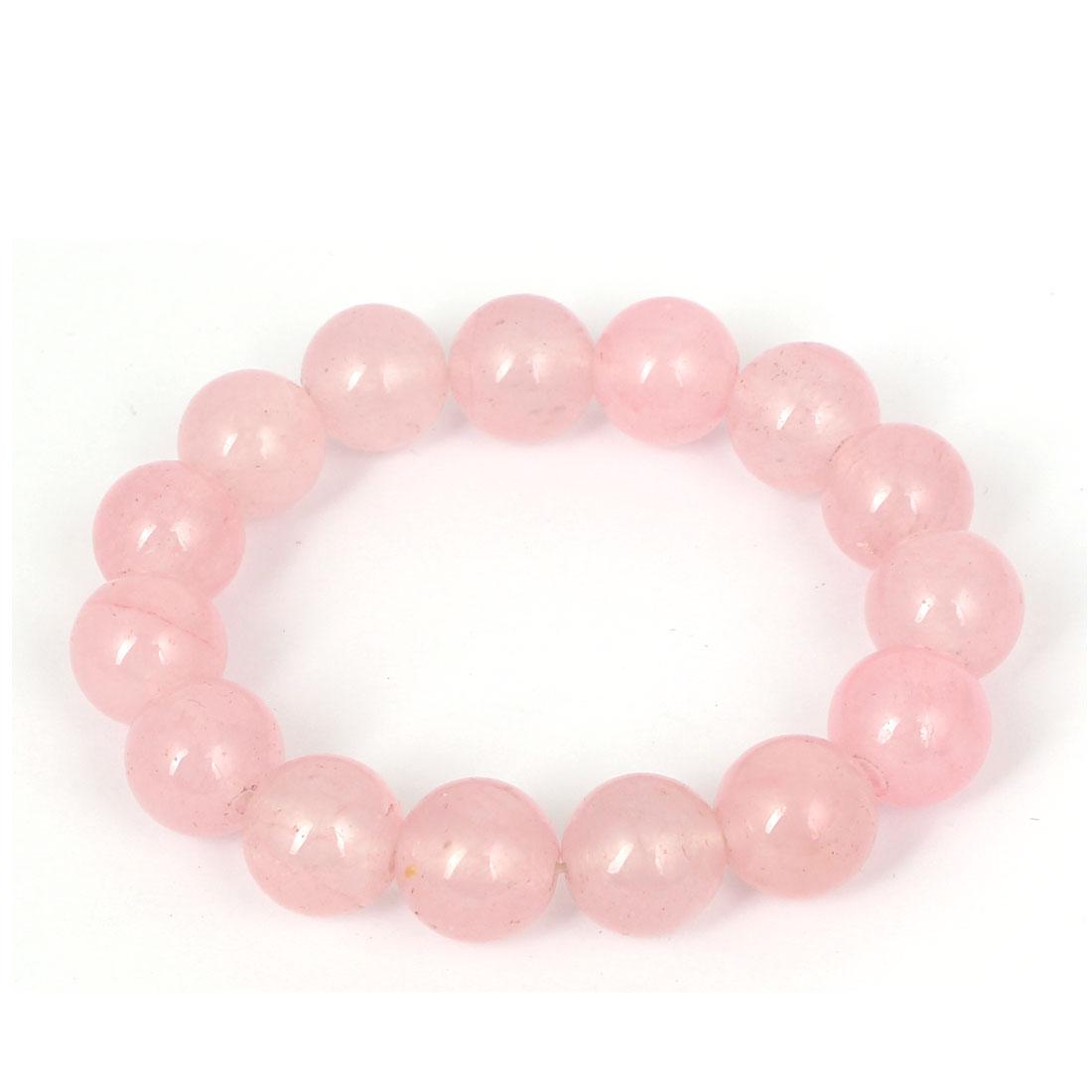 Men Women Faux Jade Elastic 13mm Round Beaded Chain Bangle Bracelet Clear Pink