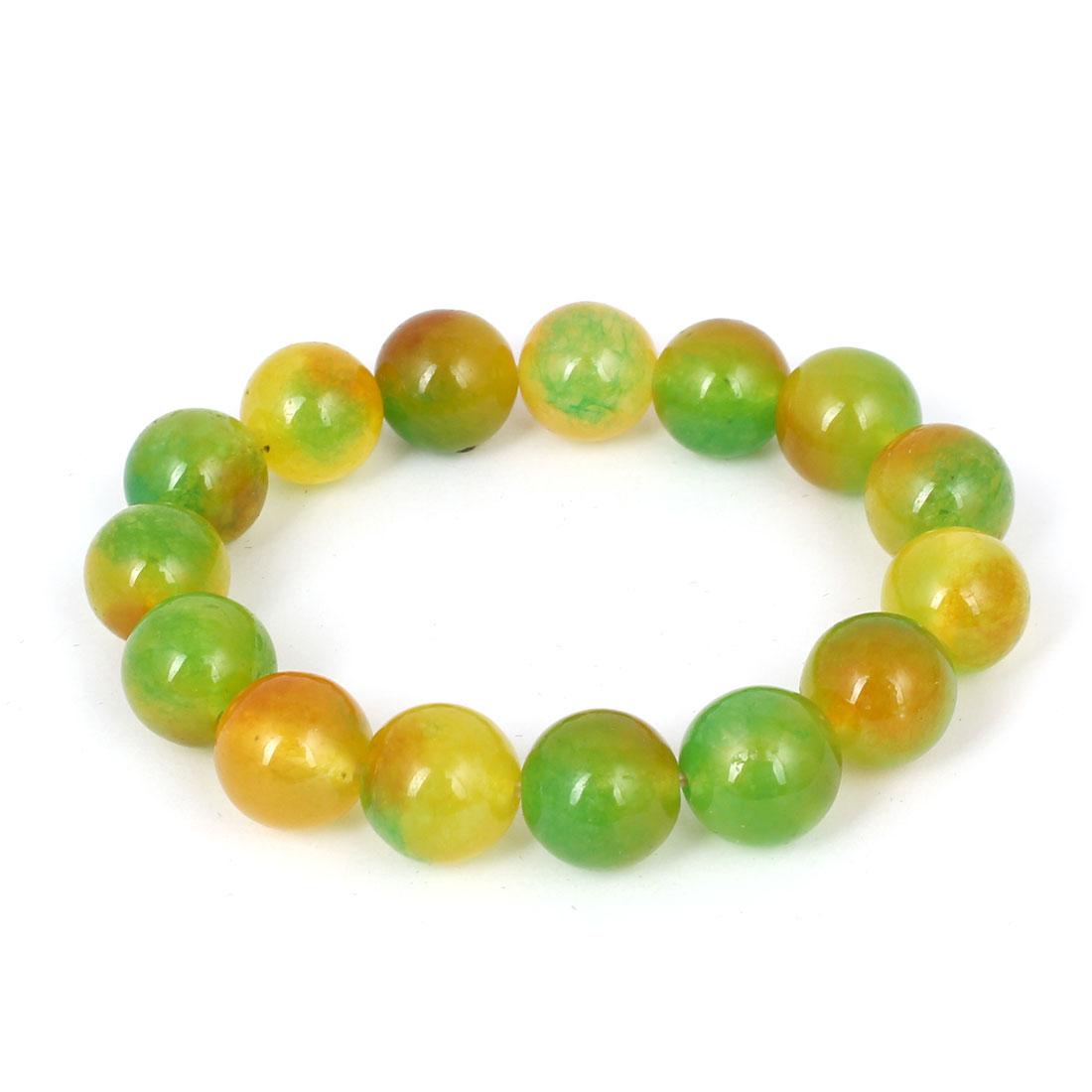 Men Women Faux Jade Elastic 13mm Round Bead Chain Bangle Bracelet Yellow Green