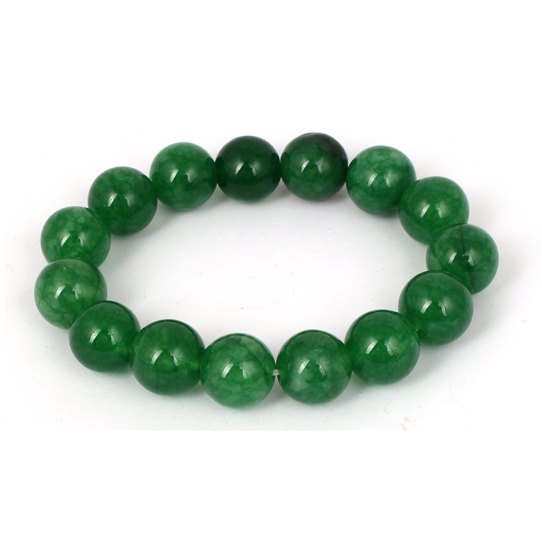 Men Women Faux Jade Elastic 13mm Round Bead Chain Bangle Bracelet Dark Green