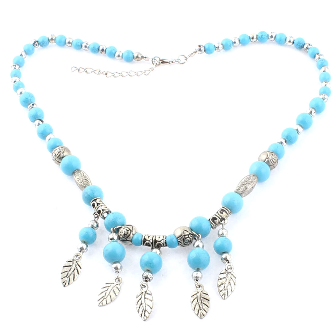 Lobster Clasp Link Leaf Pendant Bead Ball Chain Necklace Blue Silver Tone
