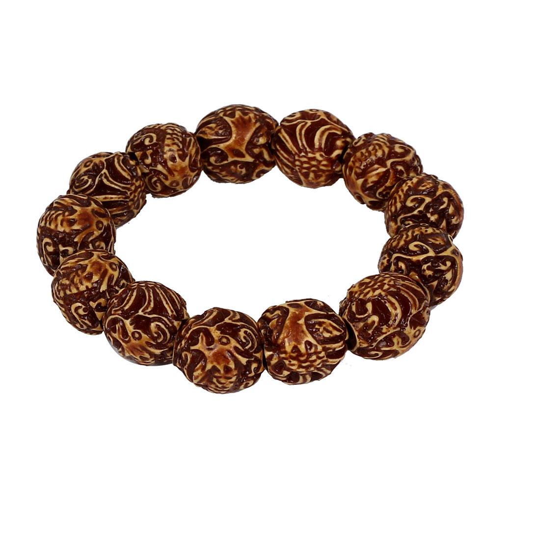 Men Women Yak Bone Dragon Phoenix Carved Bead Stretchy Chain Bangle Bracelet