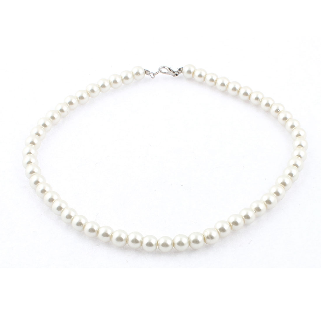 Women Lobster Clasp Link Imitation Pearl Ball Chain Wedding Party Necklace White
