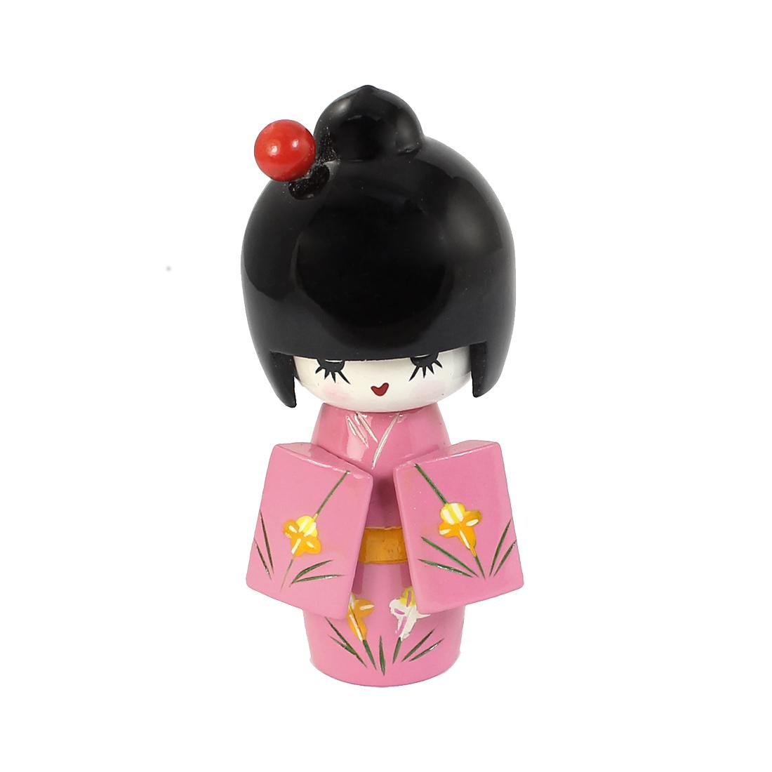 11cm Length Craft Flower Pattern Kimono Japanese Wooden Kokeshi Girl Doll Pink