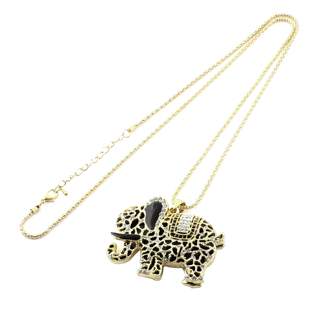 Men Women Faux Rhinestone Decor Metal Elephant Pendant Chain Necklace Gold Tone