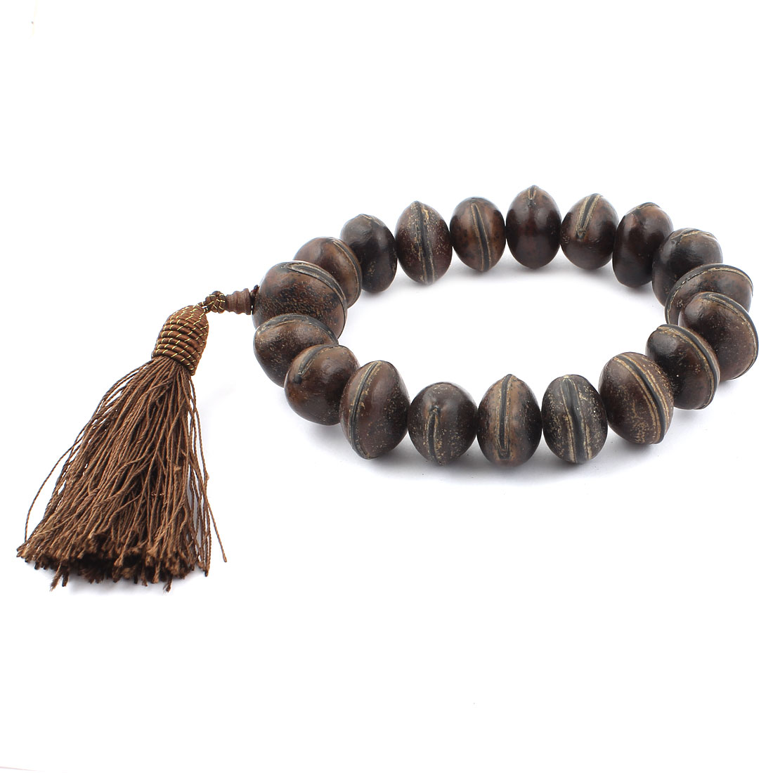 Tassel Pendant Wooden Oval Flat Bead Prayer Bangle Bracelet Dark Brown