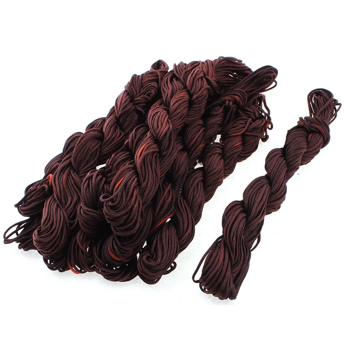 20M Length 2mm Dia Chinese Knotting Bracelet Bead Thread String Dark Brown 10pcs