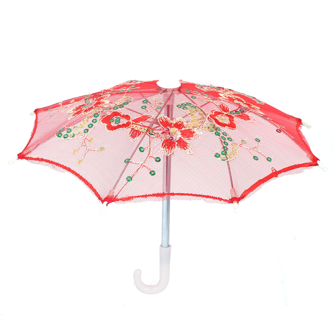 Flower Pattern Sequin Accent Wedding Party Table Decoration Mini Lace Umbrella Red