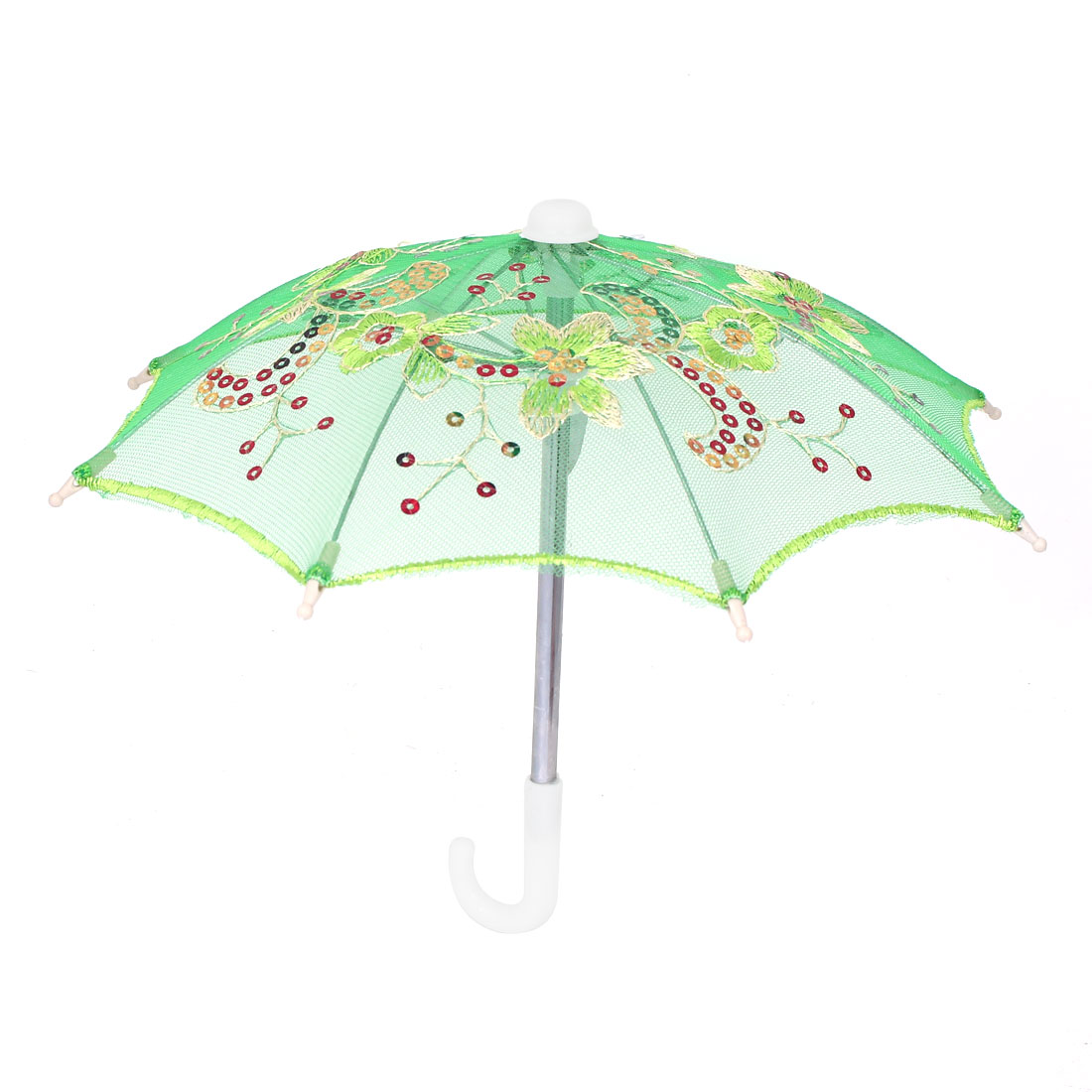 Flower Pattern Sequin Accent Wedding Party Table Decoration Mini Lace Umbrella Green