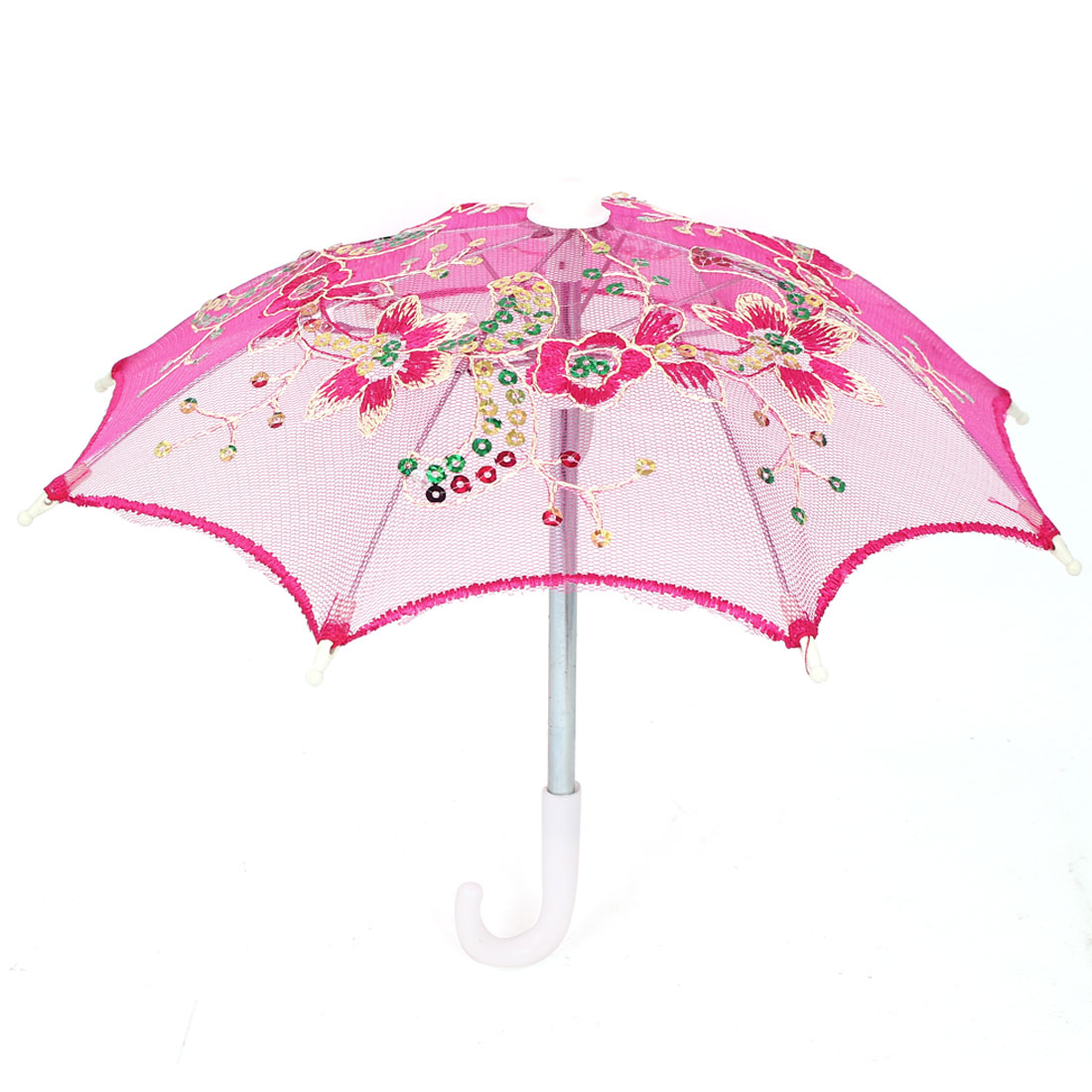 Flower Pattern Sequin Accent Wedding Party Table Decoration Mini Lace Umbrella Fuchsia