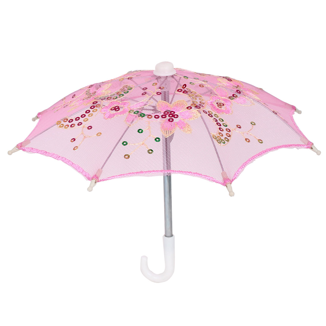 Flower Pattern Sequin Accent Wedding Party Table Decoration Mini Lace Umbrella Pink
