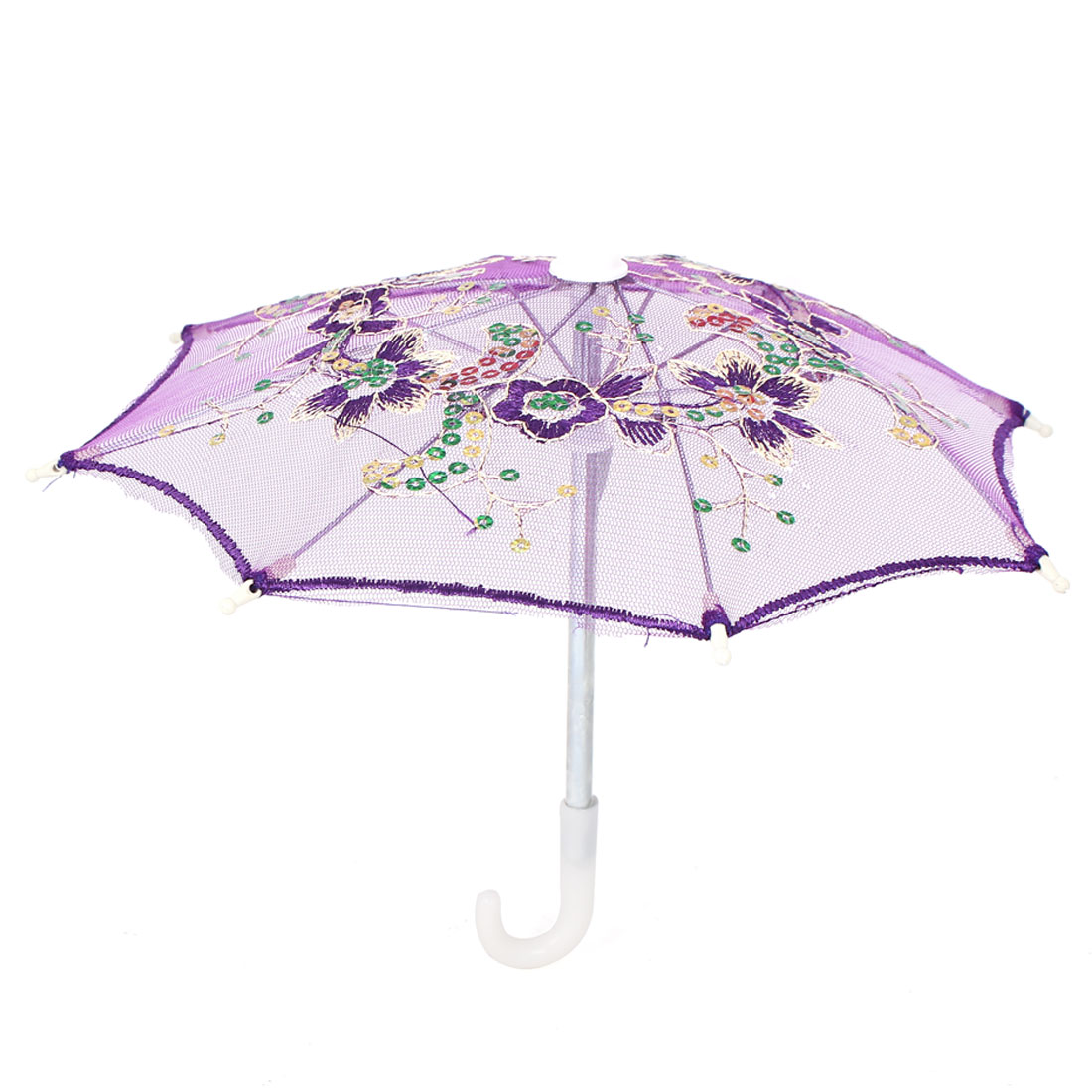 Flower Pattern Sequin Accent Wedding Party Table Decoration Mini Lace Umbrella Purple