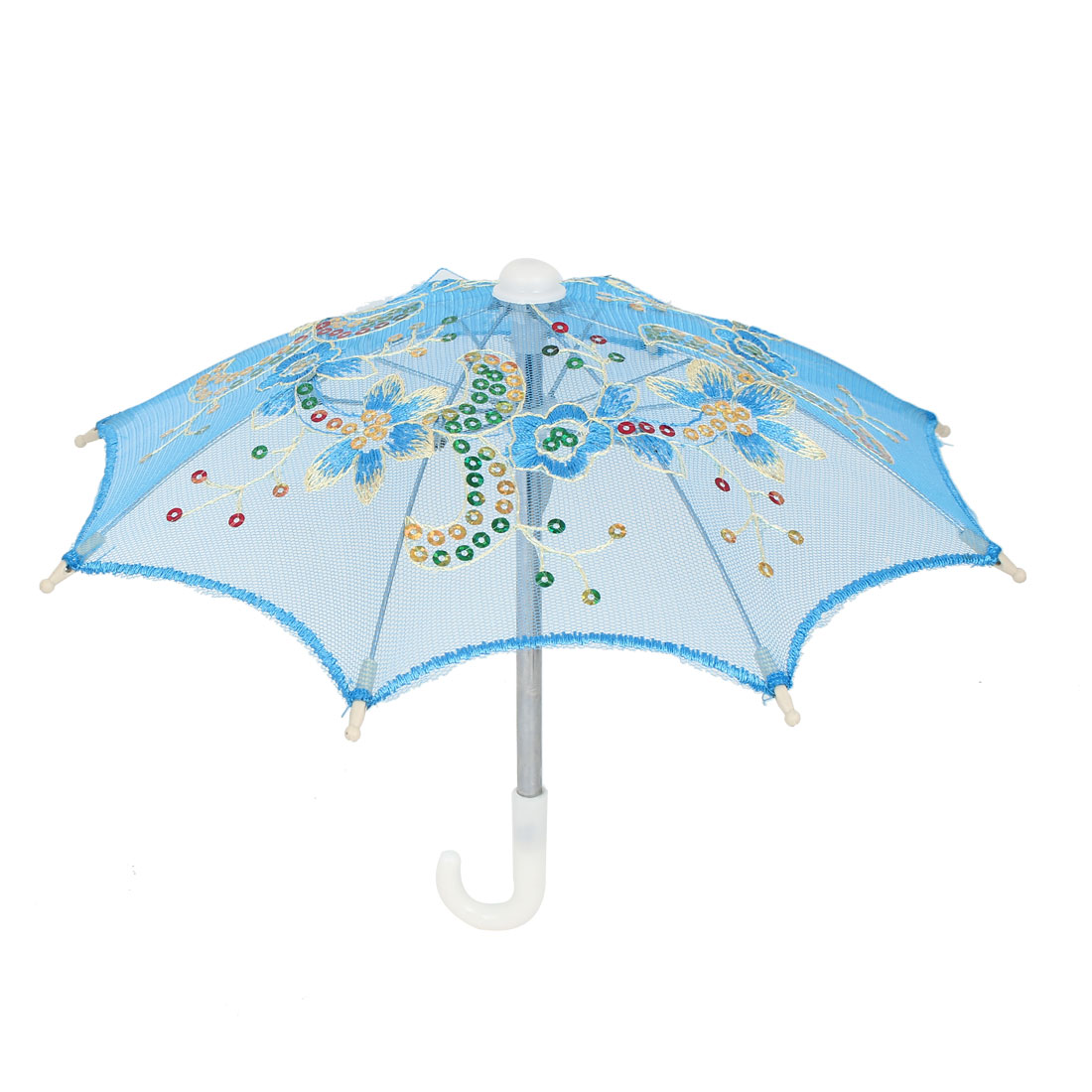 Flower Pattern Sequin Accent Wedding Party Table Decoration Mini Lace Umbrella Blue
