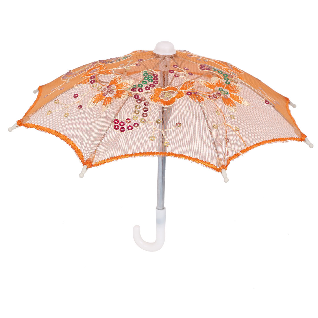 Flower Pattern Sequin Accent Wedding Party Table Decoration Mini Lace Umbrella Orange
