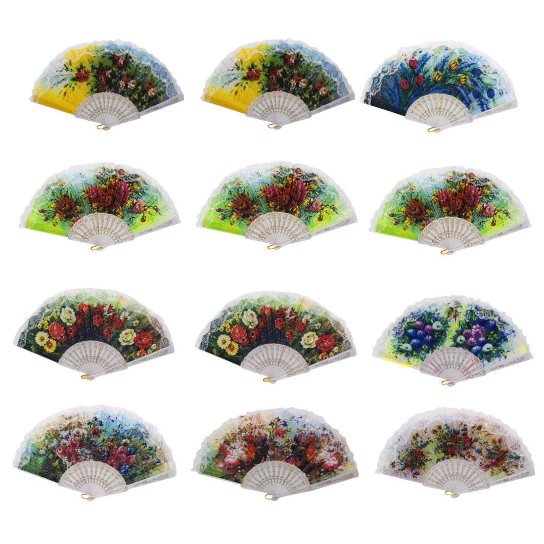 Plastic Frame Flower Pattern Lace Trim Wedding Party Dance Folding Fan 12pcs