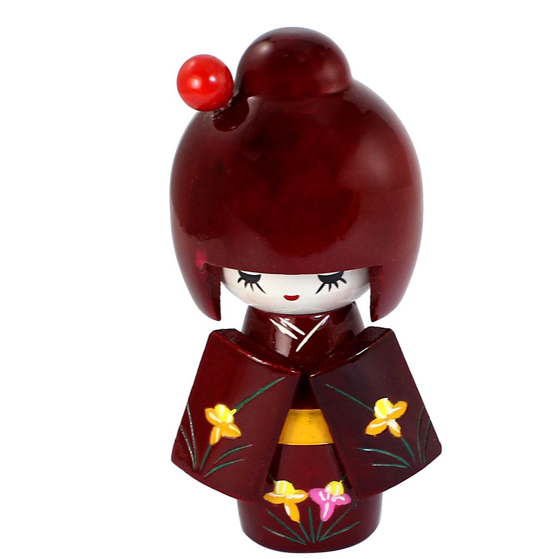 13cm Length Craft Flower Pattern Kimono Japanese Wooden Kokeshi Girl Doll Red