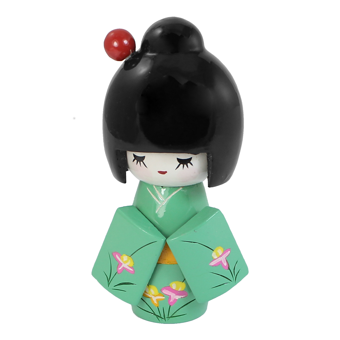 13cm Length Craft Flower Pattern Kimono Japanese Wooden Kokeshi Girl Doll Green