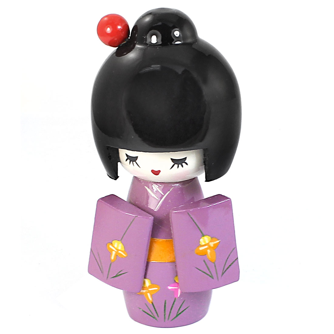Wooden Flower Pattern Kimono Japanese Kokeshi Girl Doll Craft 13cm Length Purple