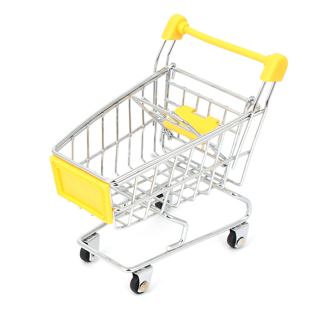 Mini Supermarket Shopping Hand Trolly Cart Model Toy Storage Container Yellow